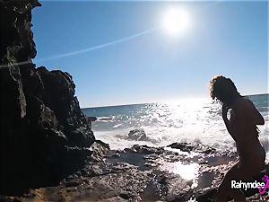 Rahyndee James public beach romping pov