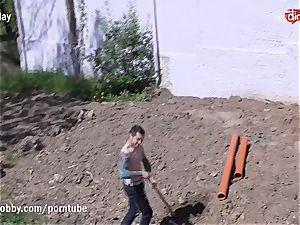 MyDirtyHobby hot teenager smashing the Gardener