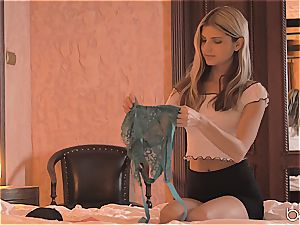eyes covered Doris Ivy does blowage and gets ravaged in her fresh lingerie