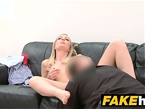 fake Agent timid light-haired model loves clean-shaved snatch munched