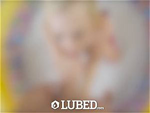 greased blond Bailey Brooke banged in baby pool