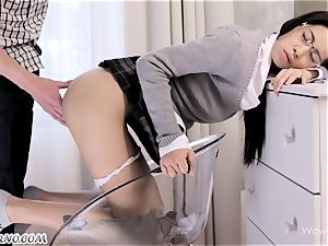 enrapturing schoolgirl wants fuck-fest with his step-brother