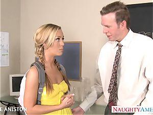 ponytailed Nicole Aniston deep-throat stiffy in classroom