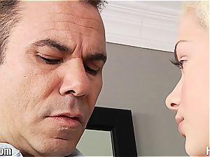 Stepdaughter gets her small hooters coated in jizm by daddy