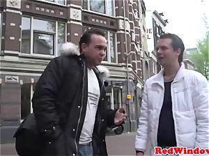 hefty breasted Amsterdam prostitute gets cum showered