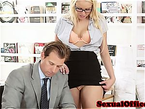 hotty assistant takes her boss' jizz-shotgun for a ride