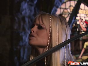 Circle of pirates watch horny lesbians Jenaveve Jolie and Carmen Luvana slurp out minge
