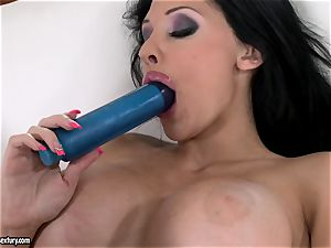 horny babe Aletta Ocean humps her rosy slot with her dearest blue plaything