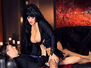 ebony haired Alison Tyler plows her suited paramour