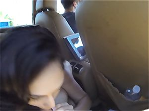 naughty Ariana Marie pokes two knobs in public