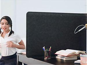 Jojo kiss and Maya Bijou scissor under the desk in the office