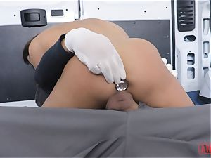 Christiana Cinn tied up in a van and bum-fucked