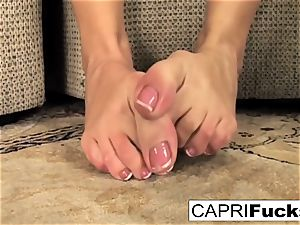 Capri plays with her coochie and soles