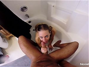 humid point of view bathroom hook-up with Nicole Aniston