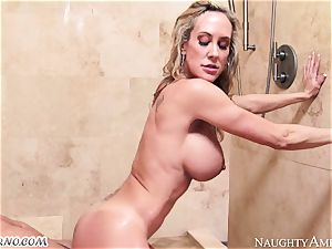 big-chested mummy Brandi enjoy with gigantic funbags tempts her stepson in the douche