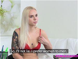 FemaleAgent tattooed platinum-blonde makes a sexual deal