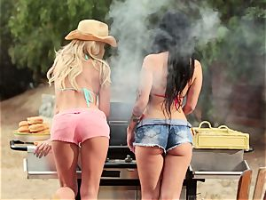 bikini stunners Riley Steele and Katrina Jade girly-girl meeting