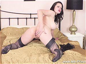 beautiful cougar drains to ejaculation in sheer nylons garters