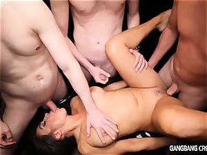 magnificent dark-haired gets group smashed and creampied