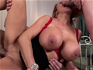 big-chested babe Sharon pinkish gets her facehole jammed with salami
