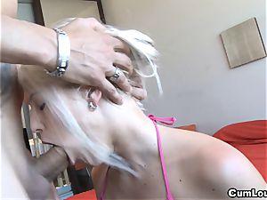 nasty Blanche Bradburry taking spunk on her Face