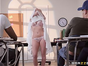 Christie Stevens leaned over and romped doggie