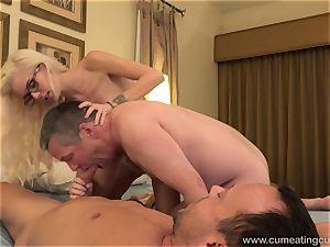 Halle Von and Her Cuck hubby Take Turns inhaling manhood