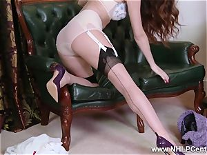 stunner takes off to nylons high-heeled shoes to toy her muff