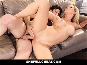 SheWillCheat cheating wifey Gags on man rod