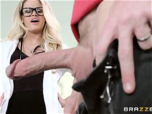 super-hot medic Jessa Rhodes checks out this gigantic man rod