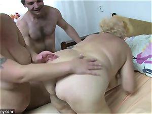 OldNanny granny and mature masturbated unshaved puss