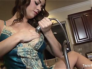 Taylor Vixen plays with her gash in the kitchen drown