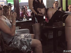 domina made honey group sex in public bar