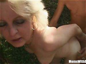platinum-blonde Mama Jana Receives harsh pummeling Outdoors